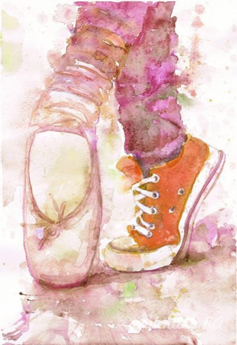 ec5828da96ea Ballerina Print Ballet Pointe Shoes Water color Painting