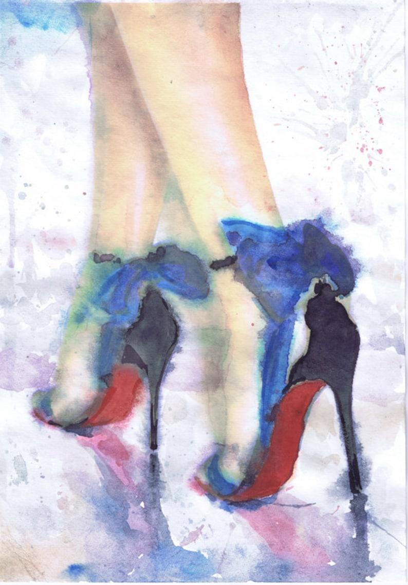 5d0ed8dd755ad Christian Louboutin mode Illustration chaussure aquarelle