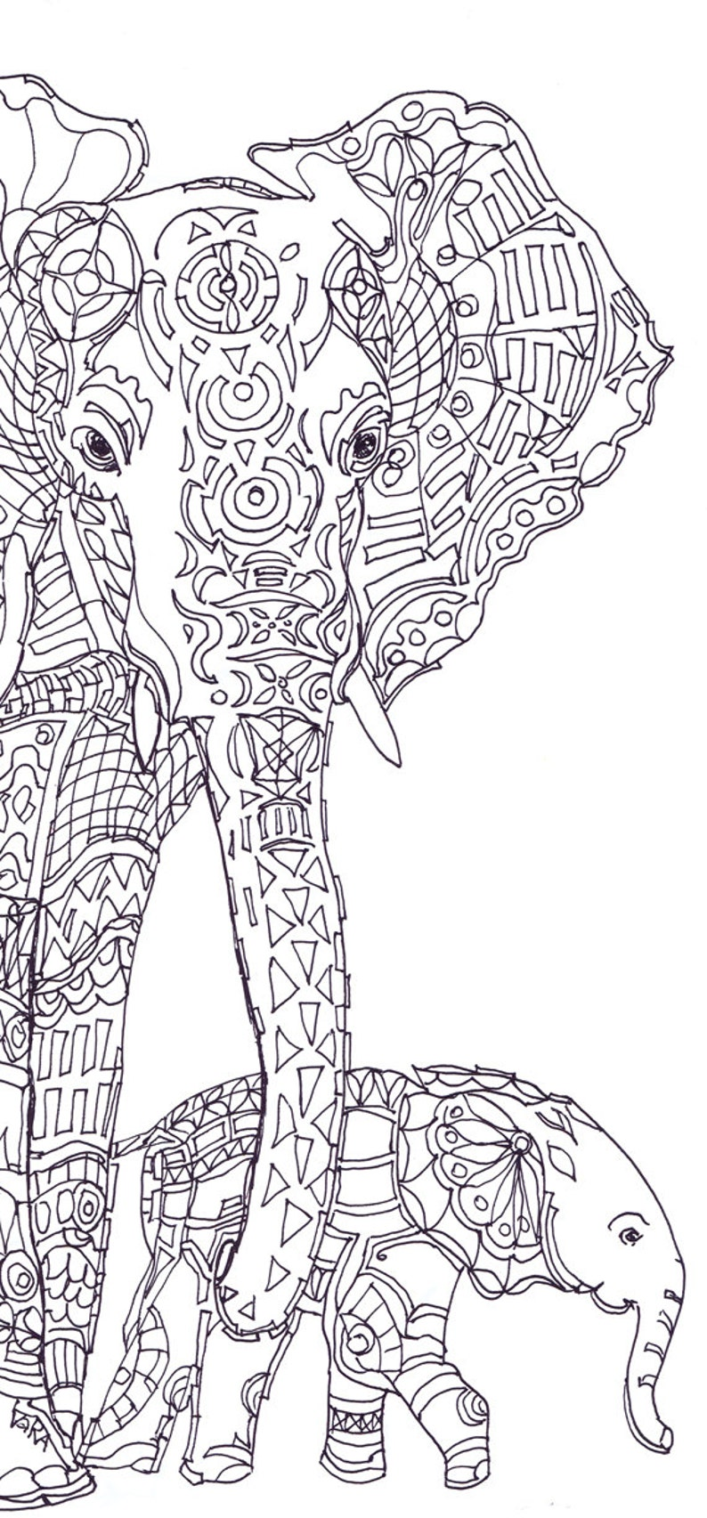 Elephant Clip Art Coloring pages Printable Adult Coloring book | Etsy