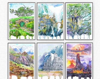 Middleearth -  Set of 6 Prints Watercolor JRR legendarium - Bag end,  Lothlorien, Gondor, Rohan, Erebor, Fangorn, Argonath