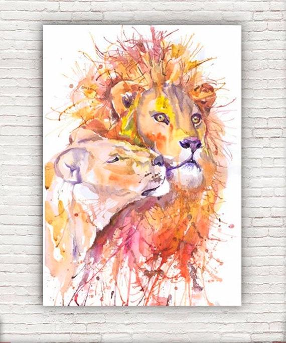 Sternzeichen Löwe Paar löwe-druck löwin aquarell könig der löwen afrikanische   etsy