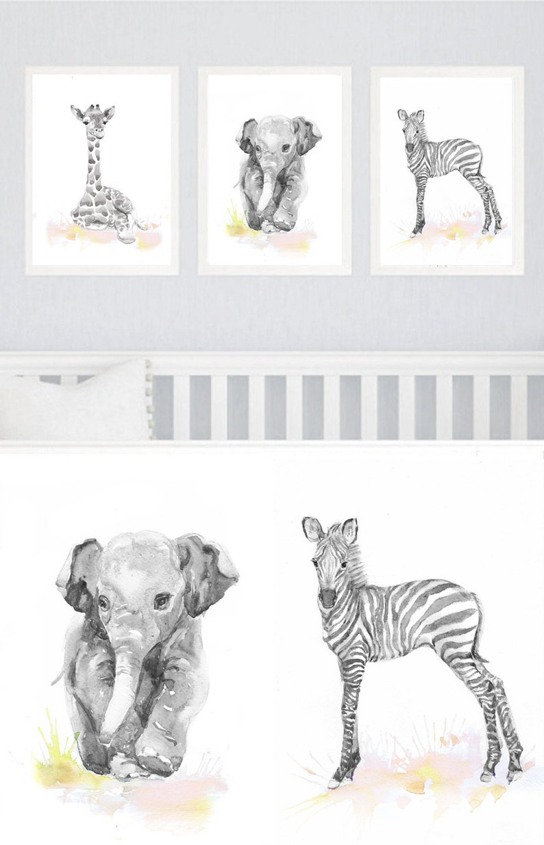 Neutral Nursery Decor Set of 3 prints Baby Animals Nursery image 0