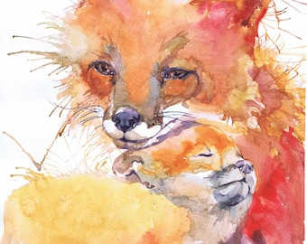 Fox painting Watercolor Art Nursery decor Baby Watercolour Print Mother and baby Woodland Forest animals Prints Nature Gifts Children