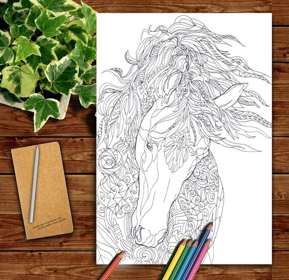 Coloring pages Horse Printable Adult Coloring book Clip Art Hand Drawn  Original Zentangle Colouring Page For Download, Doodle art Picture