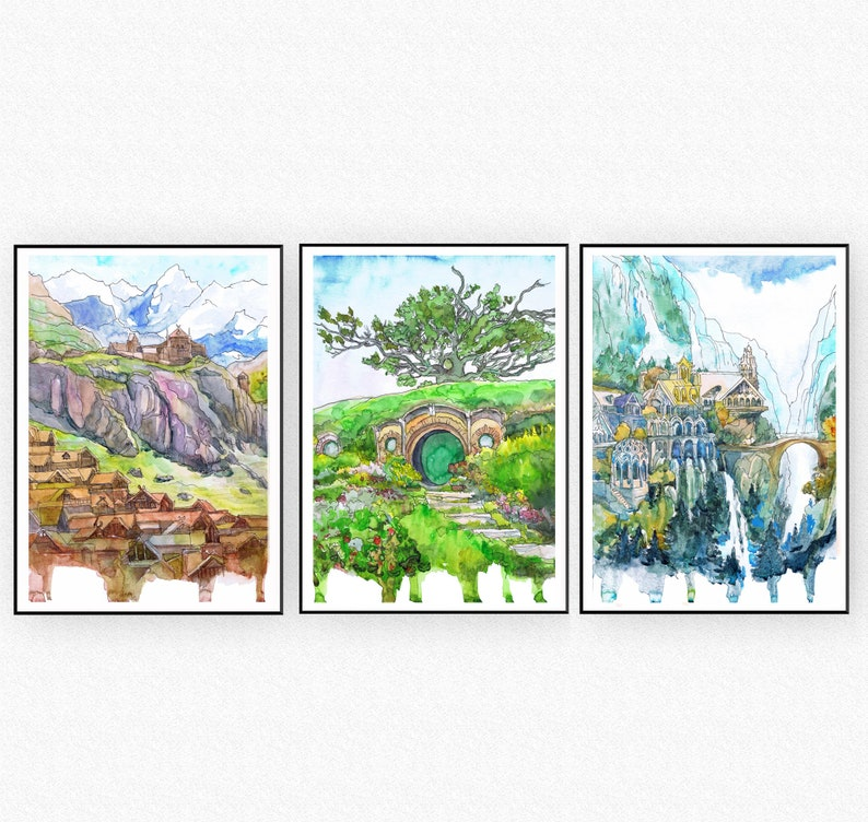 Lord Travel Movie Posters Jrr Fantasy Bag End Art Watercolor Painting Print MiddleEarth