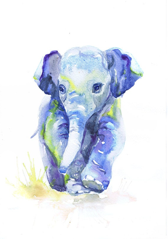 Miniature Painting ACEO Watercolor Print Elephant ACEO Collectible Art, Nursery Wall Decor 2.5x3.5 Baby Elephant Watercolor ATC