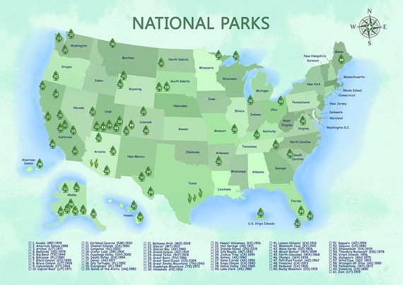 National Park Printable Map with Checklist, US Map Poster
