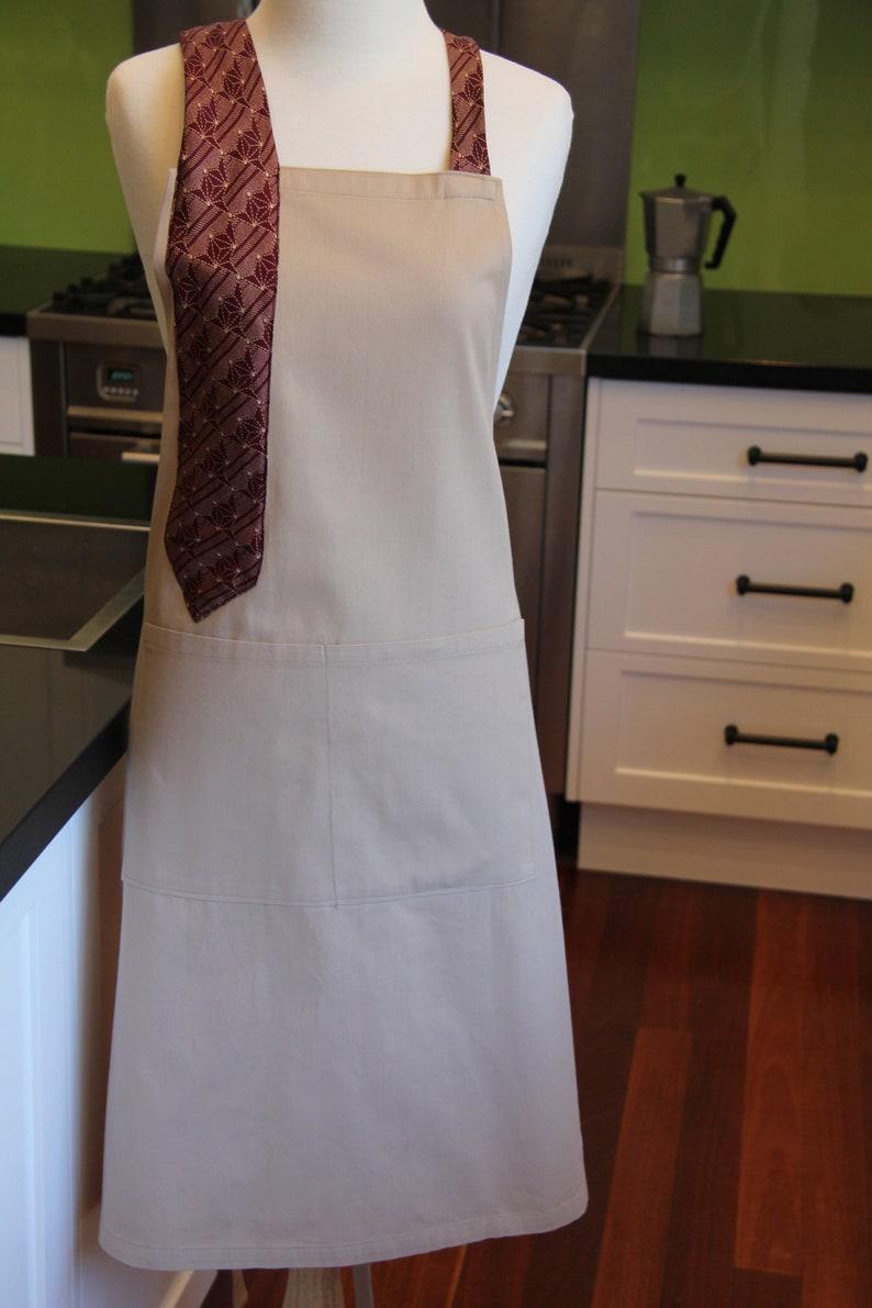 7a0f3854f Silk neck tie men's apron. Handmade light brown cotton | Etsy
