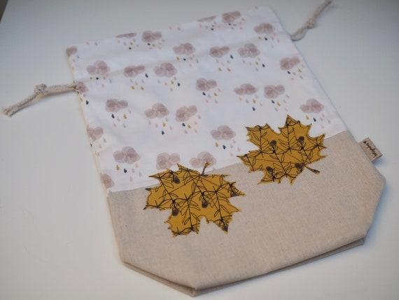 Falling Leaves Drawstring Project Bag