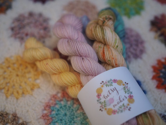 Mini Skein 5 Pack - Fingering Weight Yarn Merino / Nylon Blend