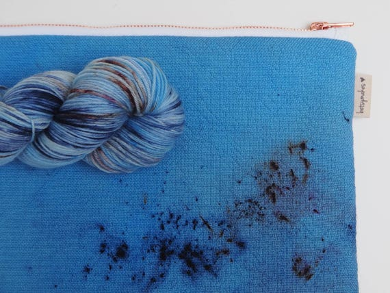 Superwash Merino Wool Project Pouch - Dirty Denim