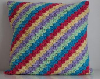 Crochet Rainbow Cushion