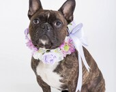 Flower Dog Collar for Weddings - 'Kiss Me Design' -  lilac, mauve and white country garden flowers.