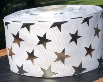 Cheer Ribbon, 3 inch Grosgrain Ribbon, Star Ribbon, 3 inch Ribbon, Foil Ribbon, Cheer Bow Ribbon, Cheer Bow