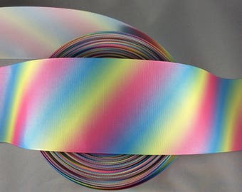 Cheer Ribbon, Pastel Rainbow Ribbon, 3 inch Grosgrain Ribbon, Cheer Bow Ribbon, Cheer Bow, Grosgrain Ribbon