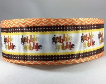 Thanksgiving Ribbon, Turkey Ribbon, Pilgrim Ribbon, Gobble Gobble Ribbon, Thanksgiving Bows