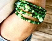 Wrap Bracelet Stacking, Bead, Green, Necklace, Anklet, Seed bead, Czech Glass, Layered Bracelets, Stacking, Boho, BeachBlack Friday sale