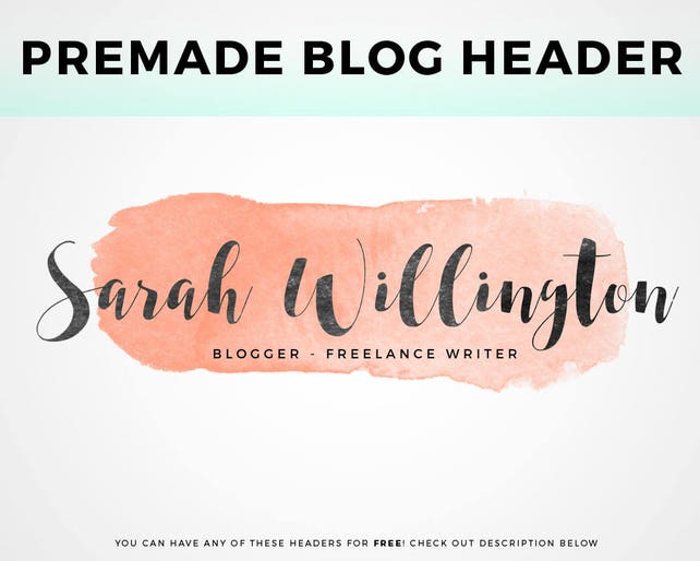 Premade Blog Header pick your own Watercolor Header | Etsy