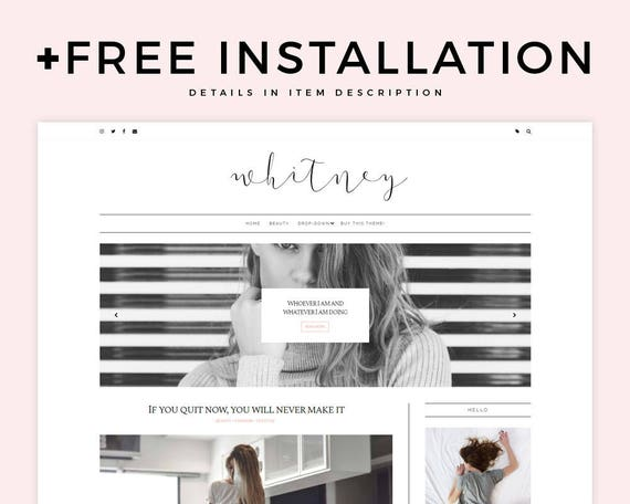 classic blogger template whitney responsive etsy