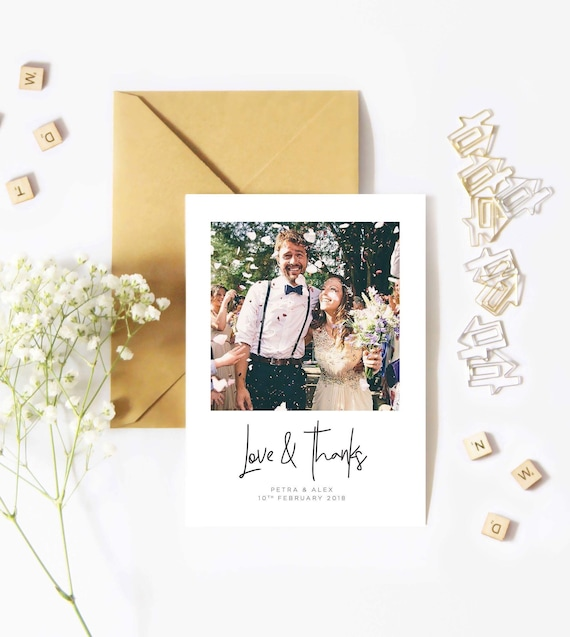 Personalised Wedding Thank You Cards Laurel Simple A6 Thank You Card Best Day Ever Personalised Thank You Note with Photo