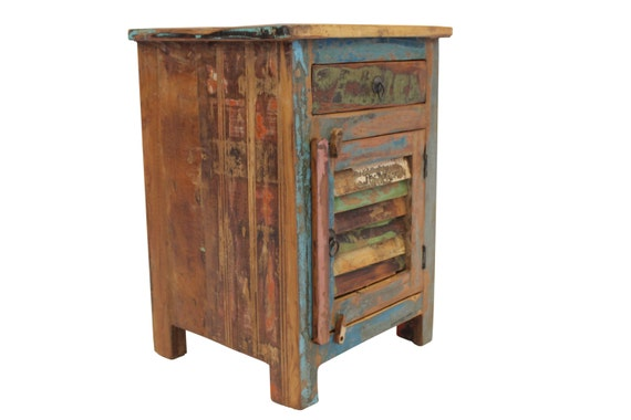 innovative design 694f8 ea24b Bedside Table, Louvre Door, Beautifully Handcrafted in Reclaimed Indian  Teak - FREE DELIVERY!