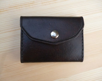 Handmade Tri-Fold Leather Wallet - Dark Brown