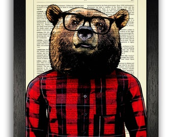 75b75ac41 Bear Art Print - Lumberjack Grizzly Bear Poster, Home Wall Decor, Gift for  Husband, Bedroom Wall Art, 8 x 10 inches Print, Animal Poster