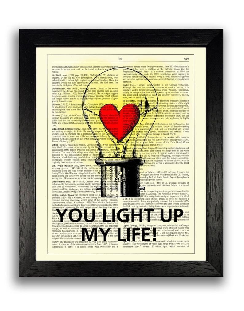 09e5dd49c Tú iluminas mi vida Art Print, San Valentín regalos para novio, día de San  Valentín presente para novia, regalos de aniversario para hombres, ...