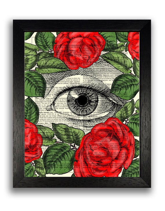 Imagen Arte Cartel Gótico Cráneo Humano enmarcado impresión con flores coloridas