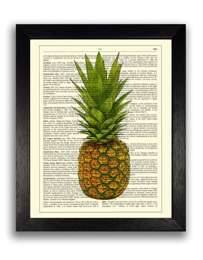 Pineapple Decorative Art Print Fruit Poster Kitchen Decor Etsy