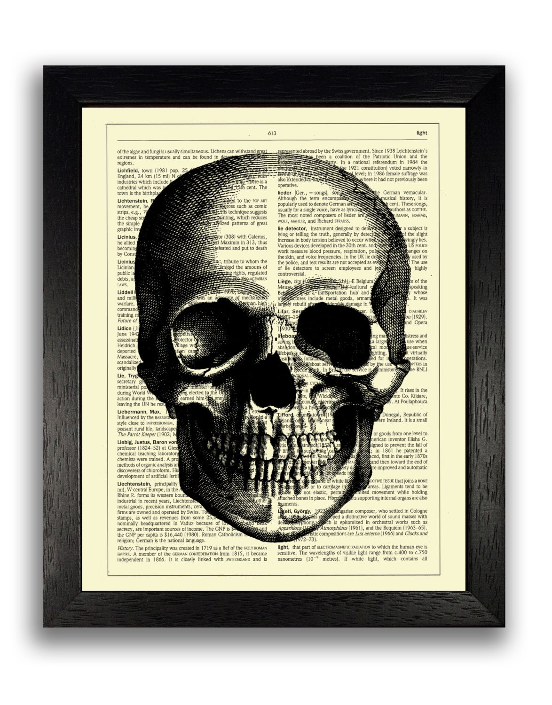 CRÁNEO simple esqueleto impresión impresión del arte del | Etsy