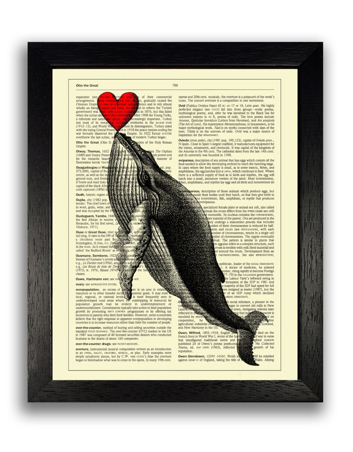 Whale Art Print, Whale Dictionary Art Print, Red Love Heart Decor,  Dictionary Art Print, Love Anniversary Gift for Boyfriend, Cool Art