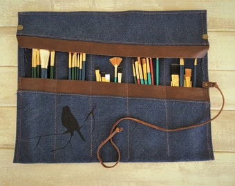 Paint Brush Roll, personalized Artist Roll, Paint Brush Organizer, Artist pouch, Paint Brush Holder, Painters Travel Case