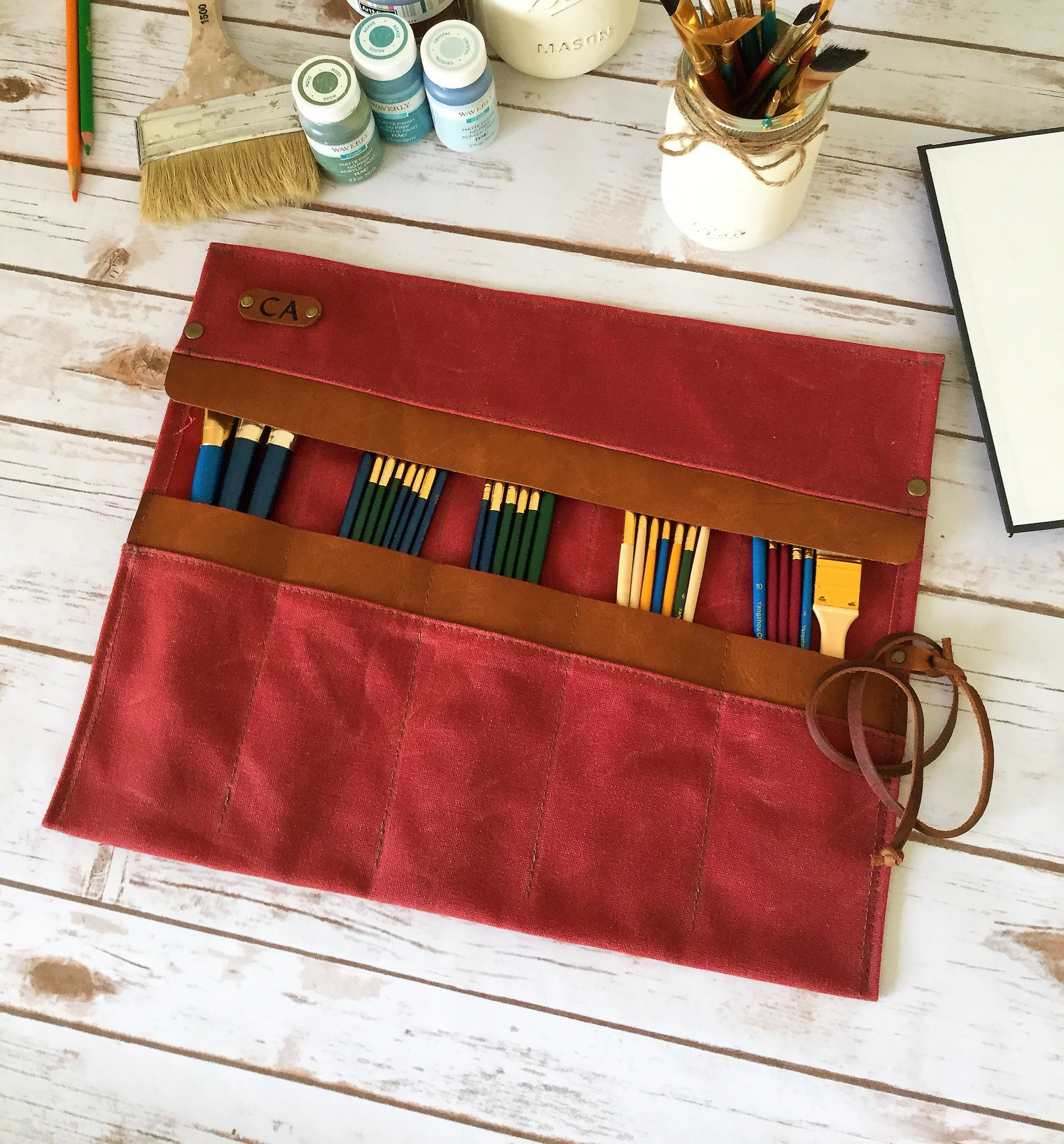 waxed canvas paint brush roll artist roll paint brush organizer
