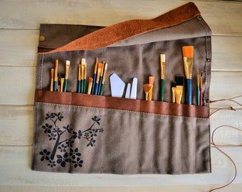 Paint Brush Roll, Artist Roll, Paint Brush Organizer, Artist pouch, Paint Brush Holder, Painters Travel Case
