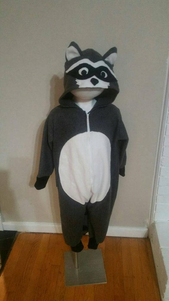 Raccoon Costume Sleeper Halloween Dress Up Play Clothing Etsy