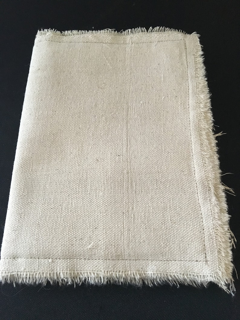 Canvas Cloth 9 by 6 Blank Fabric Journal 16 Sides to Embellish Cover is Padded All Hand Torn /& Includes Embellished Pocket and Panel Page