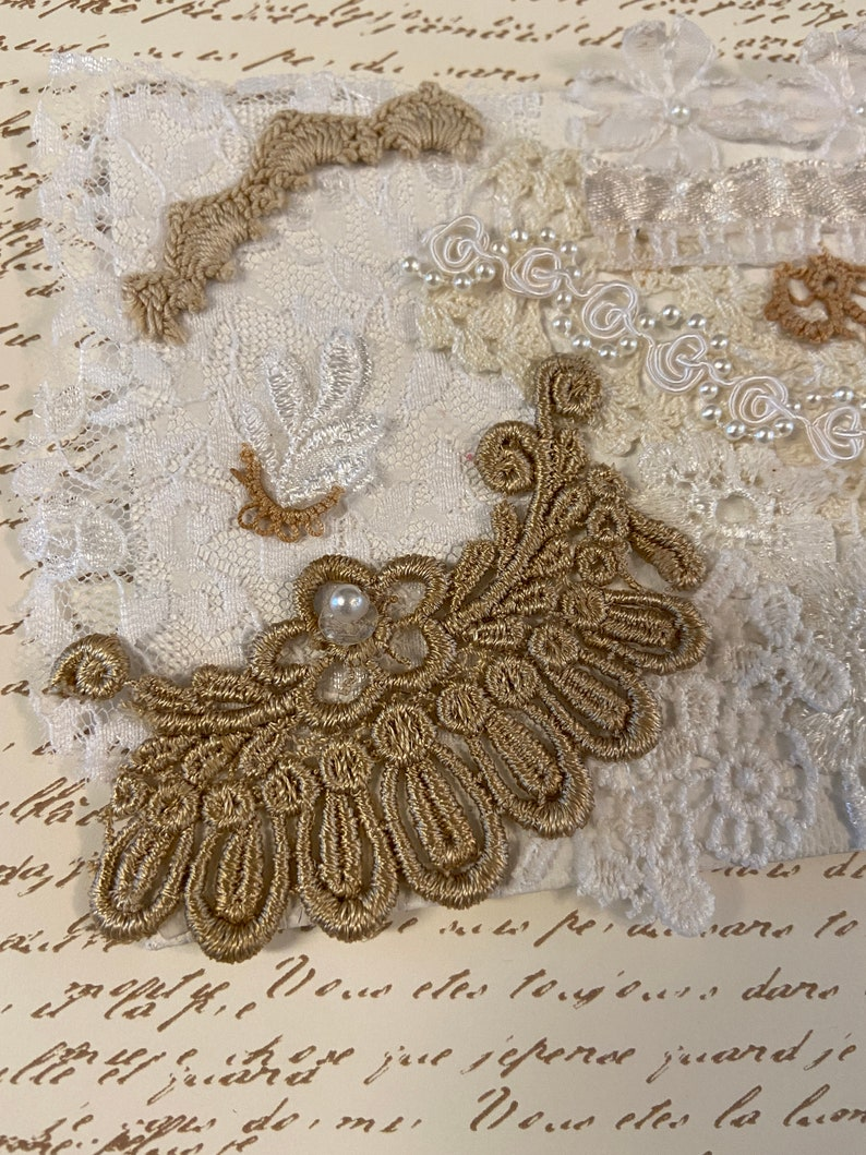 Vintage Wedding Dress Collage Pieces or Journal Cover Canvas Mat Board 4 by 6 Home Wall Decor Lace Some Hand Dyed Pearls Beads