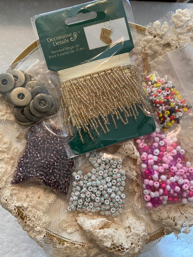 Jewelry Making Junk Journals Collages Mixed Media Art Snippets Tags Assortment of Beads and Beaded Fringe