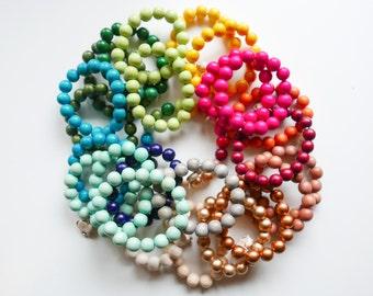 Wood Stretch Bracelet - Stack Bracelets - Stretch Bracelet