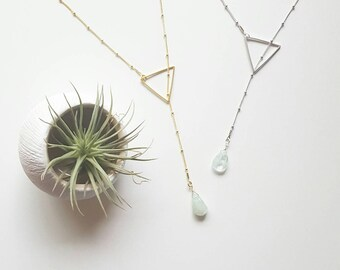Aquamarine Lariat Necklace | Gold Lariat Necklace | Silver Layer Necklace