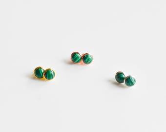 Green Stud Earrings - Gemstone Stud Earrings - Minimalist Stud Earrings - Malachite Stud Earrings