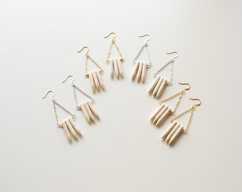 White Spike Earrings - Dangle Earrings - Gold and Silver Earrings