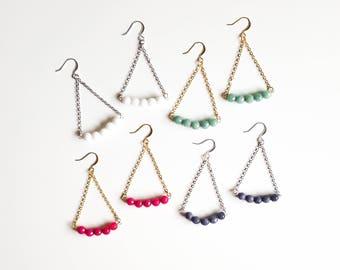 Mint Green Trapeze Earrings | Gemstone Earrings | Lightweight Summer Dangle Earrings