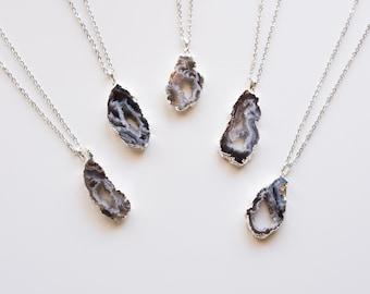 Druzy Agate Pendant Necklace - Silver Agate Layer Necklace - Custom Layer Necklace