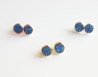 Blue Druzy Stud Earrings | Navy Bridal Earrings | Blue Gemstone Stud Earrings