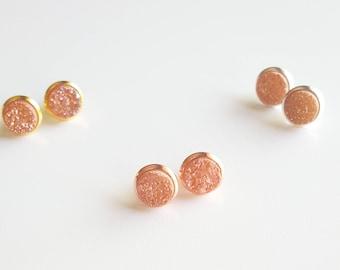 Champagne Druzy Stud Earrings | Champagne Bridal Earrings | Pink Gemstone Stud Earrings