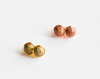 Picasso Jasper Stud Earrings - Gemstone Stud Earrings - Minimalist Stud Earrings - Green and Pink Stud Earrings