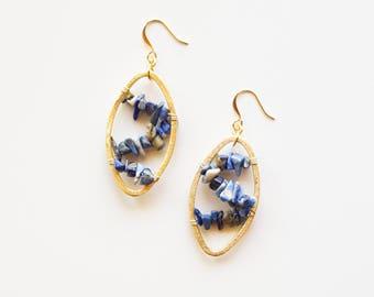 Lapis Lazuli Wrapped Earrings | Blue Statement Earrings | Nickel Free Earrings