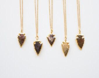 Jasper Arrowhead Necklace - Small Arrowhead Layer Necklace - Pendant Necklace